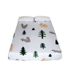 Squirrel Rabbit Tree Animals Snow Fitted Sheet (full/ Double Size)