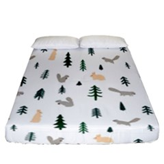 Squirrel Rabbit Tree Animals Snow Fitted Sheet (california King Size)
