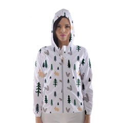 Squirrel Rabbit Tree Animals Snow Hooded Wind Breaker (women)