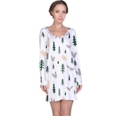 Squirrel Rabbit Tree Animals Snow Long Sleeve Nightdress