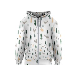 Squirrel Rabbit Tree Animals Snow Kids  Zipper Hoodie
