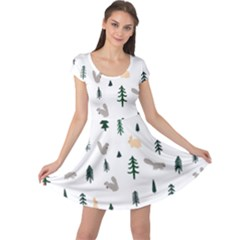Squirrel Rabbit Tree Animals Snow Cap Sleeve Dress