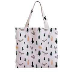 Squirrel Rabbit Tree Animals Snow Zipper Grocery Tote Bag