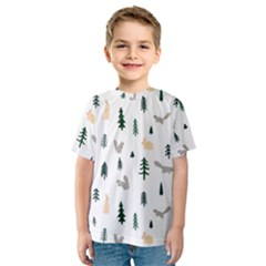 Squirrel Rabbit Tree Animals Snow Kids  Sport Mesh Tee