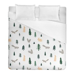 Squirrel Rabbit Tree Animals Snow Duvet Cover (full/ Double Size)