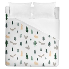 Squirrel Rabbit Tree Animals Snow Duvet Cover (queen Size)
