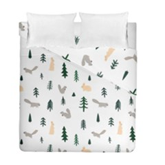 Squirrel Rabbit Tree Animals Snow Duvet Cover Double Side (full/ Double Size)