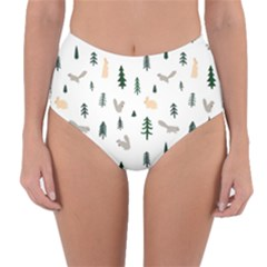 Squirrel Rabbit Tree Animals Snow Reversible High Waist Bikini Bottoms