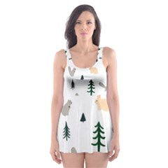 Squirrel Rabbit Tree Animals Snow Skater Dress Swimsuit