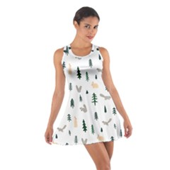 Squirrel Rabbit Tree Animals Snow Cotton Racerback Dress
