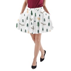 Squirrel Rabbit Tree Animals Snow A Line Pocket Skirt