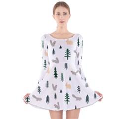 Squirrel Rabbit Tree Animals Snow Long Sleeve Velvet Skater Dress