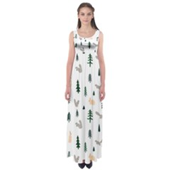 Squirrel Rabbit Tree Animals Snow Empire Waist Maxi Dress