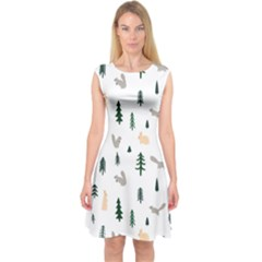 Squirrel Rabbit Tree Animals Snow Capsleeve Midi Dress