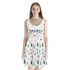 Squirrel Rabbit Tree Animals Snow Split Back Mini Dress