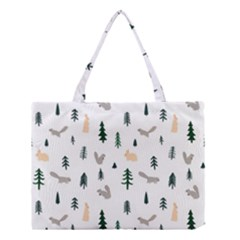 Squirrel Rabbit Tree Animals Snow Medium Tote Bag