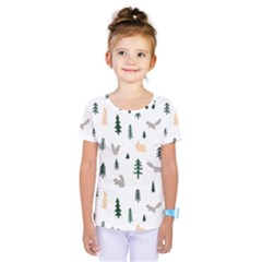 Squirrel Rabbit Tree Animals Snow Kids  One Piece Tee