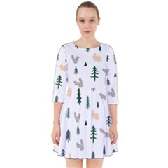 Squirrel Rabbit Tree Animals Snow Smock Dress