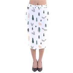 Squirrel Rabbit Tree Animals Snow Velvet Midi Pencil Skirt