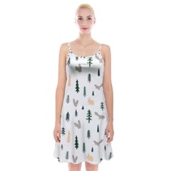 Squirrel Rabbit Tree Animals Snow Spaghetti Strap Velvet Dress