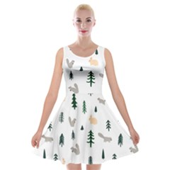 Squirrel Rabbit Tree Animals Snow Velvet Skater Dress