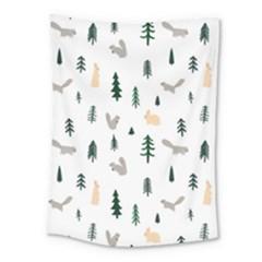 Squirrel Rabbit Tree Animals Snow Medium Tapestry