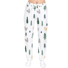 Squirrel Rabbit Tree Animals Snow Drawstring Pants