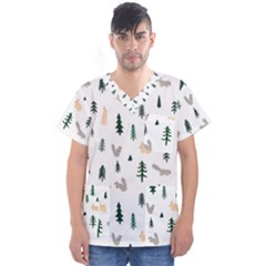 Squirrel Rabbit Tree Animals Snow Men s V Neck Scrub Top