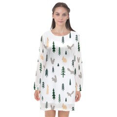 Squirrel Rabbit Tree Animals Snow Long Sleeve Chiffon Shift Dress
