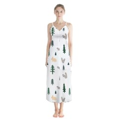 Squirrel Rabbit Tree Animals Snow Button Up Chiffon Maxi Dress