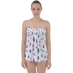 Squirrel Rabbit Tree Animals Snow Babydoll Tankini Set