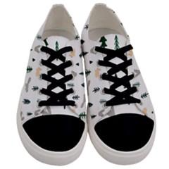 Squirrel Rabbit Tree Animals Snow Men s Low Top Canvas Sneakers