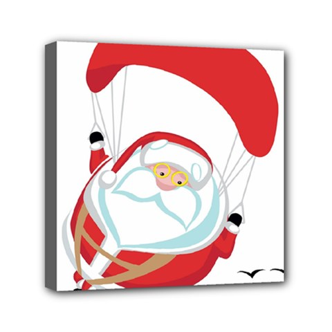 Skydiving Christmas Santa Claus Mini Canvas 6  X 6