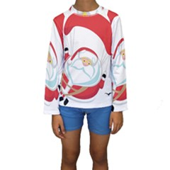 Skydiving Christmas Santa Claus Kids  Long Sleeve Swimwear