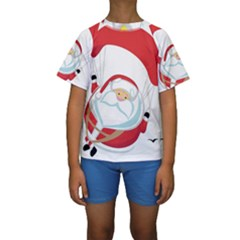 Skydiving Christmas Santa Claus Kids  Short Sleeve Swimwear