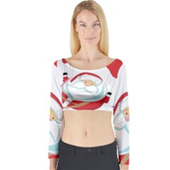 Skydiving Christmas Santa Claus Long Sleeve Crop Top
