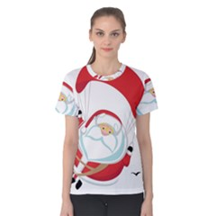Skydiving Christmas Santa Claus Women s Cotton Tee
