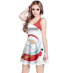 Skydiving Christmas Santa Claus Reversible Sleeveless Dress