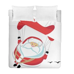 Skydiving Christmas Santa Claus Duvet Cover Double Side (full/ Double Size)