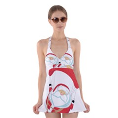 Skydiving Christmas Santa Claus Halter Dress Swimsuit