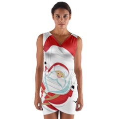 Skydiving Christmas Santa Claus Wrap Front Bodycon Dress
