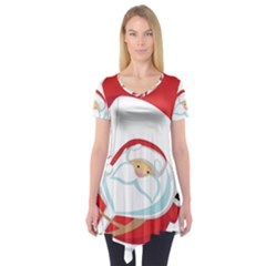 Skydiving Christmas Santa Claus Short Sleeve Tunic