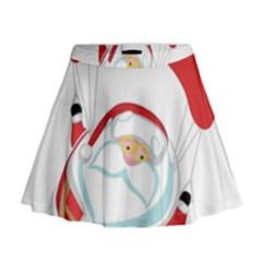 Skydiving Christmas Santa Claus Mini Flare Skirt