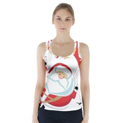 Skydiving Christmas Santa Claus Racer Back Sports Top