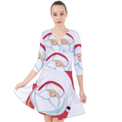 Skydiving Christmas Santa Claus Quarter Sleeve Front Wrap Dress