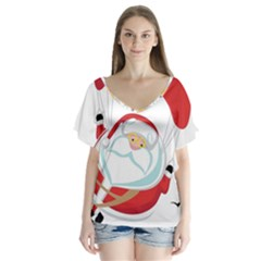 Skydiving Christmas Santa Claus V Neck Flutter Sleeve Top