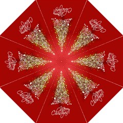 Tree Merry Christmas Red Star Golf Umbrellas by Alisyart