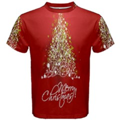 Tree Merry Christmas Red Star Men s Cotton Tee by Alisyart