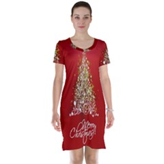 Tree Merry Christmas Red Star Short Sleeve Nightdress by Alisyart
