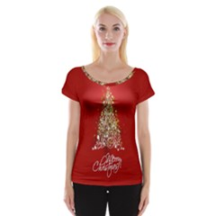 Tree Merry Christmas Red Star Cap Sleeve Tops by Alisyart